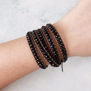 Chan Luu Onyx 5 Wrap Leather Bracelet